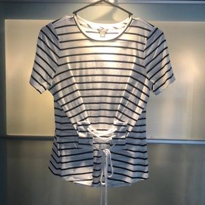 Navy blue and white striped cotton shirt